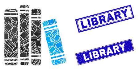 Mosaic book library pictogram and rectangular Library seals. Flat vector book library mosaic pictogram of random rotated rectangular items. Blue Library stamp imprints with grunge texture.