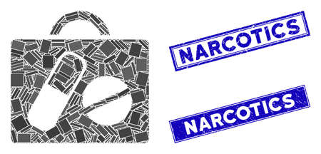 Mosaic drugs case pictogram and rectangular Narcotics watermarks. Flat vector drugs case mosaic pictogram of scattered rotated rectangular items. Blue Narcotics watermarks with distress textures. 矢量图像