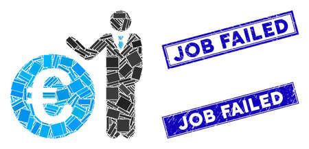 Mosaic Euro economist pictogram and rectangle Job Failed rubber prints. Flat vector Euro economist mosaic pictogram of scattered rotated rectangle items.
