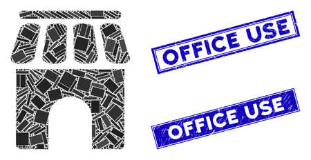 Mosaic shop building pictogram and rectangular Office Use seals. Flat vector shop building mosaic pictogram of scattered rotated rectangular elements. Blue Office Use watermarks with distress texture. Stock fotó - 134348976