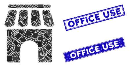 Mosaic shop building pictogram and rectangular Office Use seals. Flat vector shop building mosaic pictogram of scattered rotated rectangular elements. Blue Office Use watermarks with distress texture. Illusztráció