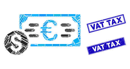 Mosaic Dollar and Euro cash pictogram and rectangle Vat Tax seal stamps. Flat vector Dollar and Euro cash mosaic icon of random rotated rectangle items. Stock Illustratie