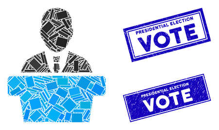 Mosaic politician icon and rectangular Presidential Election Vote stamps. Flat vector politician mosaic icon of random rotated rectangular items. Ilustrace