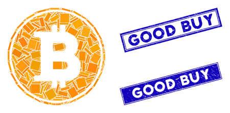 Mosaic Bitcoin coin icon and rectangle Good Buy seals. Flat vector Bitcoin coin mosaic icon of random rotated rectangle items. Blue Good Buy seals with distress surface. Illusztráció