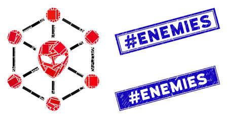 Mosaic alien network icon and rectangular #Enemies rubber prints. Flat vector alien network mosaic pictogram of randomized rotated rectangular items. Blue #Enemies rubber stamps with rubber texture. Illusztráció