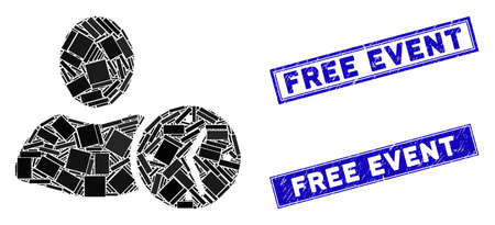 Mosaic time pictogram and rectangular Free Event seals. Flat vector time mosaic pictogram of scattered rotated rectangular elements. Blue Free Event stamps with distress surface. Reklamní fotografie - 134348774