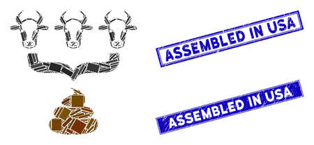 Mosaic cow manure aggregator funnel pictogram and rectangle Assembled in USA seals. Flat vector cow manure aggregator funnel mosaic pictogram of random rotated rectangle elements.