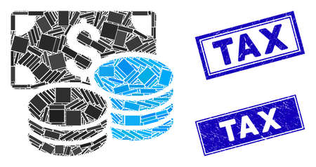 Mosaic cash pictogram and rectangular Tax rubber prints. Flat vector cash mosaic pictogram of random rotated rectangle elements. Blue Tax rubber seals with rubber textures.