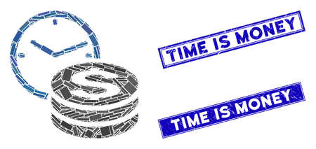 Mosaic credit pictogram and rectangular Time Is Money seals. Flat vector credit mosaic pictogram of scattered rotated rectangular elements. Blue Time Is Money rubber seals with rubber surface.
