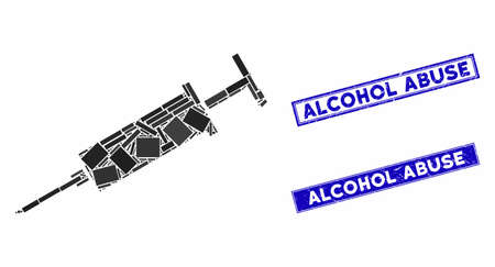 Mosaic syringe icon and rectangle Alcohol Abuse stamps. Flat vector syringe mosaic icon of scattered rotated rectangular items. Blue Alcohol Abuse rubber seals with rubber textures. Векторная Иллюстрация