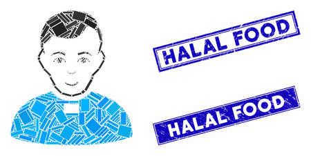 Mosaic priest icon and rectangle Halal Food seals. Flat vector priest mosaic icon of scattered rotated rectangle items. Blue Halal Food stamps with scratched texture.