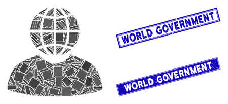 Mosaic global politician icon and rectangular World Government rubber prints. Flat vector global politician mosaic icon of random rotated rectangle elements.