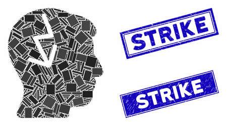 Mosaic brain electric strike pictogram and rectangular Strike seal stamps. Flat vector brain electric strike mosaic icon of random rotated rectangular elements.