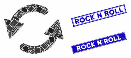 Mosaic refresh CCW pictogram and rectangle Rock N Roll seal stamps. Flat vector refresh CCW mosaic pictogram of scattered rotated rectangle elements.