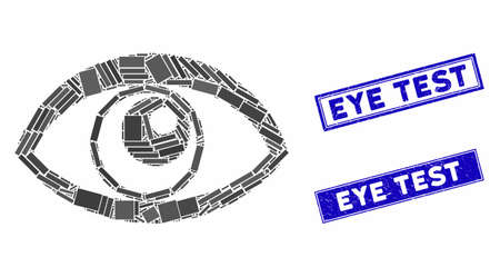 Mosaic eye pictogram and rectangle Eye Test stamps. Flat vector eye mosaic icon of scattered rotated rectangle elements. Blue Eye Test rubber stamps with rubber surface.