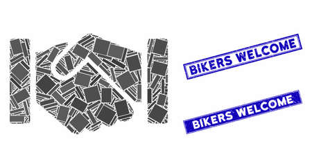 Mosaic relation handshake pictogram and rectangular Bikers Welcome stamps. Flat vector relation handshake mosaic pictogram of random rotated rectangular elements.  イラスト・ベクター素材