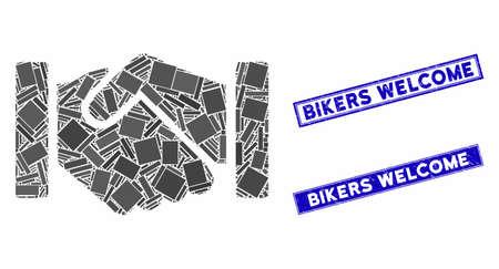 Mosaic relation handshake pictogram and rectangular Bikers Welcome stamps. Flat vector relation handshake mosaic pictogram of random rotated rectangular elements. 일러스트