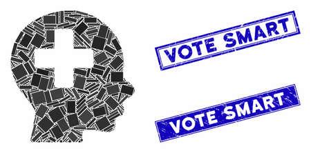 Mosaic head medicine pictogram and rectangular Vote Smart rubber prints. Flat vector head medicine mosaic pictogram of scattered rotated rectangular elements.