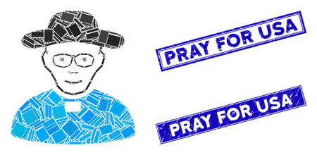 Mosaic church shepherd icon and rectangle Pray for USA rubber prints. Flat vector church shepherd mosaic icon of randomized rotated rectangle elements. Blue Pray for USA stamps with corroded textures. Ilustracja
