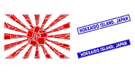 Mosaic Japanese rising sun icon and rectangular Hokkaido Island, Japan watermarks. Flat vector Japanese rising sun mosaic icon of randomized rotated rectangular items. Blue Hokkaido Island,