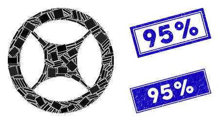 Mosaic clock blank wheel pictogram and rectangular 95% stamps. Flat vector clock blank wheel mosaic pictogram of scattered rotated rectangular items. Blue 95% rubber stamps with rubber texture. Ilustración de vector
