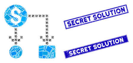 Mosaic cashflow icon and rectangular Secret Solution seals. Flat vector cashflow mosaic icon of scattered rotated rectangular items. Blue Secret Solution seals with dirty surface.