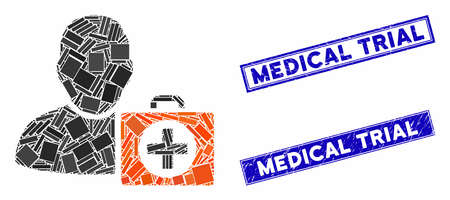 Mosaic first aid man pictogram and rectangle Medical Trial watermarks. Flat vector first aid man mosaic pictogram of random rotated rectangle elements. Zdjęcie Seryjne - 134386754