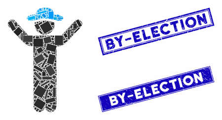 Mosaic hands up gentleman icon and rectangular By-Election seal stamps. Flat vector hands up gentleman mosaic icon of scattered rotated rectangular elements.