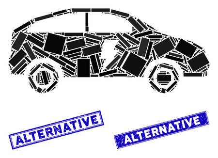 Mosaic electric car icon and rectangle Alternative seals. Flat vector electric car mosaic icon of scattered rotated rectangle elements. Blue Alternative stamps with grunged surface.
