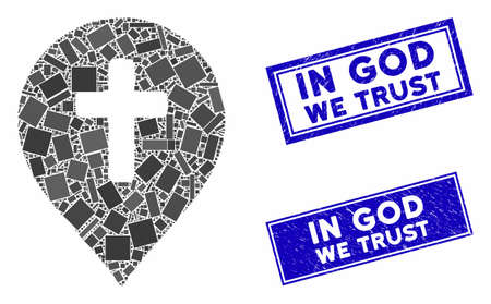 Mosaic religion cross marker pictogram and rectangle In God We Trust seals. Flat vector religion cross marker mosaic pictogram of randomized rotated rectangle items. Stockfoto - 134637210