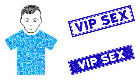 Mosaic guy pictogram and rectangular Vip Sex seals. Flat vector guy mosaic pictogram of scattered rotated rectangular items. Blue Vip Sex seal stamps with distress textures. Ilustracja