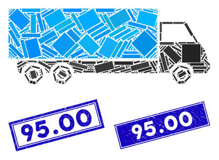 Mosaic wagon icon and rectangle 95.00 seals. Flat vector wagon mosaic pictogram of random rotated rectangle elements. Blue 95.00 rubber seals with corroded texture. Stockfoto - 134637261