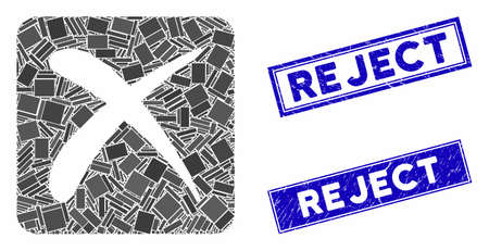 Mosaic reject pictogram and rectangle Reject stamps. Flat vector reject mosaic pictogram of randomized rotated rectangle items. Blue Reject stamps with grunge textures.