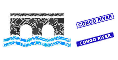 Mosaic bridge pictogram and rectangular Congo River stamps. Flat vector bridge mosaic pictogram of random rotated rectangular elements. Blue Congo River rubber stamps with distress surface. Standard-Bild - 134386879