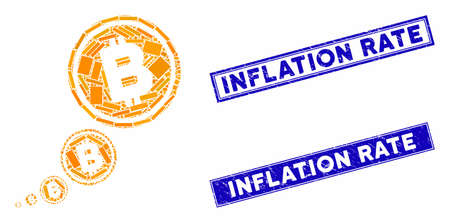 Mosaic Bitcoin inflation pictogram and rectangular Inflation Rate watermarks. Flat vector Bitcoin inflation mosaic pictogram of random rotated rectangular items.