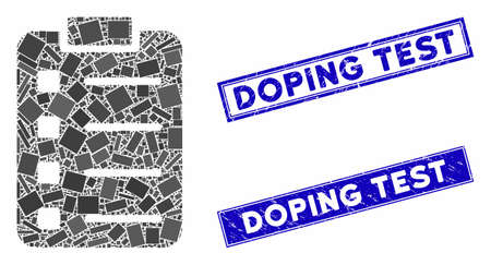 Mosaic list pad icon and rectangular Doping Test seal stamps. Flat vector list pad mosaic icon of randomized rotated rectangle items. Blue Doping Test seal stamps with distress surface. Illustration