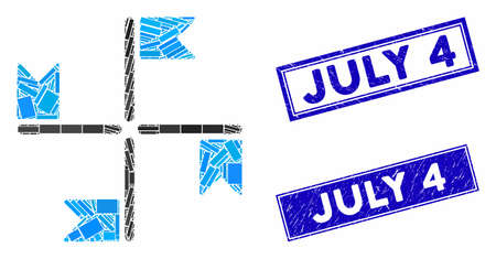 Mosaic flags icon and rectangle July 4 seals. Flat vector flags mosaic icon of randomized rotated rectangle elements. Blue July 4 seals with grunge textures.