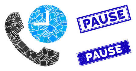 Mosaic phone time icon and rectangle Pause stamps. Flat vector phone time mosaic icon of scattered rotated rectangle items. Blue Pause stamps with distress surface. Stok Fotoğraf - 134635546