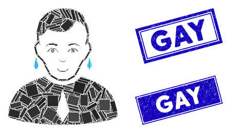 Mosaic gay icon and rectangular Gay watermarks. Flat vector gay mosaic icon of randomized rotated rectangular elements. Blue Gay watermarks with scratched texture. Ilustracja