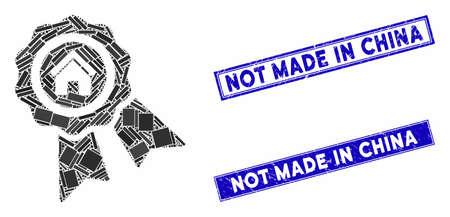 Mosaic realty award pictogram and rectangular Not Made in China watermarks. Flat vector realty award mosaic pictogram of randomized rotated rectangular items.