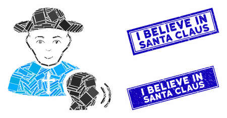 Mosaic believer confession pictogram and rectangular I Believe in Santa Claus stamps. Flat vector believer confession mosaic pictogram of randomized rotated rectangular elements. Vectores