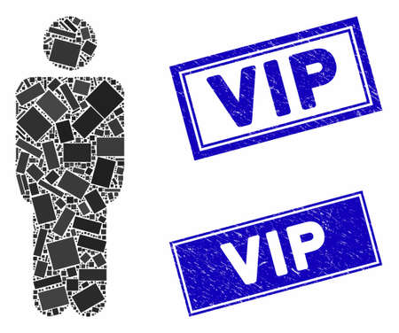 Mosaic man icon and rectangle Vip watermarks. Flat vector man mosaic icon of scattered rotated rectangle items. Blue Vip rubber stamps with distress textures.