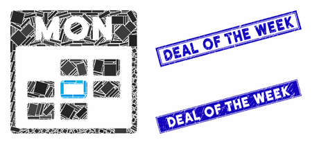 Mosaic Monday calendar grid pictogram and rectangular Deal of the Week stamps. Flat vector Monday calendar grid mosaic pictogram of scattered rotated rectangular items. Stock Illustratie