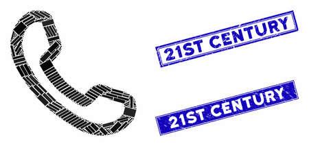 Mosaic phone receiver pictogram and rectangular 21St Century rubber prints. Flat vector phone receiver mosaic pictogram of scattered rotated rectangular elements. Иллюстрация
