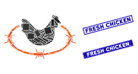 Mosaic chicken farm icon and rectangular Fresh Chicken stamps. Flat vector chicken farm mosaic icon of randomized rotated rectangular items. Blue Fresh Chicken seal stamps with grunge surface.