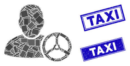 Mosaic driver wheel icon and rectangle Taxi watermarks. Flat vector driver wheel mosaic icon of randomized rotated rectangle items. Blue Taxi watermarks with grunge texture. Stock Vector - 134634775