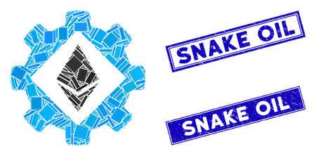 Mosaic Ethereum options gear pictogram and rectangle Snake Oil watermarks. Flat vector Ethereum options gear mosaic pictogram of randomized rotated rectangle items. Ilustração