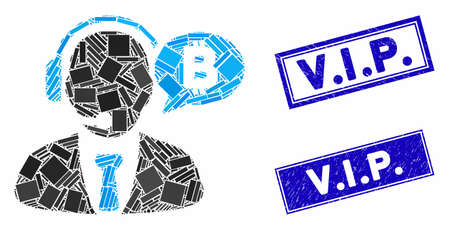 Mosaic Bitcoin manager message icon and rectangle V.I.P. seal stamps. Flat vector Bitcoin manager message mosaic pictogram of scattered rotated rectangle elements. Blue V.I.P. Standard-Bild - 134634744