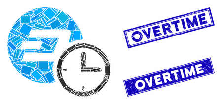 Mosaic Dash credit counter icon and rectangular Overtime seal stamps. Flat vector Dash credit counter mosaic icon of randomized rotated rectangle items.