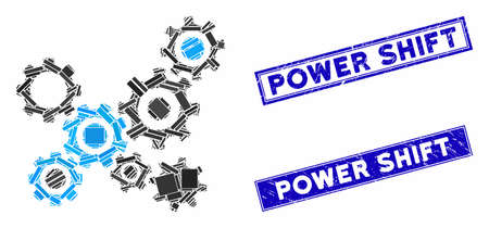 Mosaic gears mechanism icon and rectangle Power Shift rubber prints. Flat vector gears mechanism mosaic pictogram of scattered rotated rectangle items. Stock Illustratie